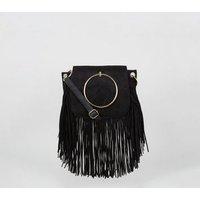 Black Suedette Fringe Ring Shoulder Bag New Look Vegan