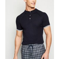 Navy Stripe Sleeve Muscle Fit Polo Shirt New Look
