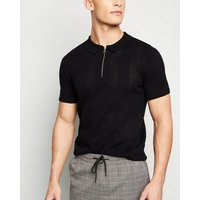 Black Zip Neck Ladder Stitch Polo Shirt New Look