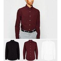 3 Pack Burgundy Long Sleeve Poplin Shirts New Look