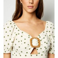 Blue Vanilla Cream Spot Buckle Peplum Top New Look