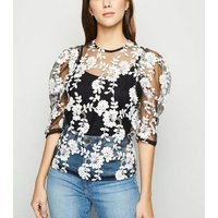 Blue Vanilla Black Embroidered Puff Sleeve Top New Look