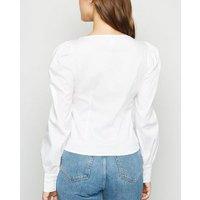 Blue Vanilla White Puff Sleeve Corset-Style Shirt New Look