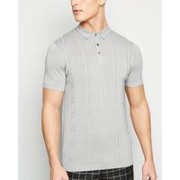 Grey Marl Cable Knit Polo Shirt New Look