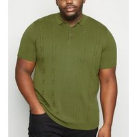 Plus Size Khaki Woven Polo Shirt New Look
