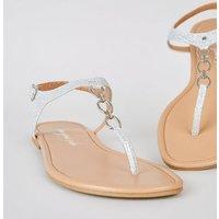 Wide Fit Silver Glitter 3 Ring Flat Sandals New Look Vegan
