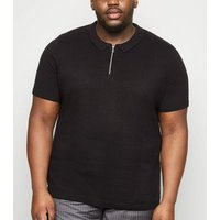 Plus Size Black Zip Front Stitch Polo Shirt New Look