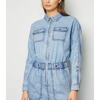 Tall Blue Acid Wash Denim Jumpsuit New Look