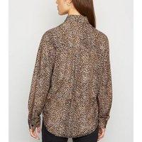 Petite Brown Leopard Print Tie Front Shirt New Look