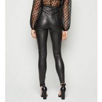 Petite Black Coated Leather-Look Zip Leggings New Look