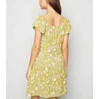 Blue Vanilla Yellow Floral Swing Dress New Look