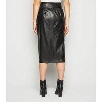 Tall Black Leather-Look High Waist Pencil Skirt New Look