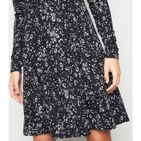 Tall Black Leopard Print Soft Touch Skater Dress New Look