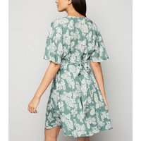 Blue Vanilla Mint Green Tropical Floral Dress New Look