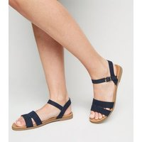 Wide Fit Navy Suedette 2 Part Footbed Sandals New Look Vegan