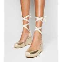 Gold Leather-Look Ankle Tie Espadrille Wedges New Look Vegan