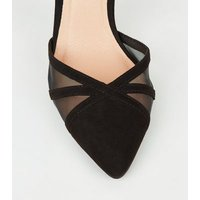 Black Suedette Mesh Pointed Court Shoes New Look