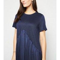 Blue Vanilla Navy Contrast Hem Dress New Look