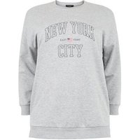 Curves Grey Marl Collegiate Slogan Sweatshirt New Look