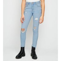 Girls Pale Blue Bleach Ripped Skinny Jeans New Look