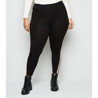 Curves Black Side Stripe Leggings New Look
