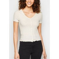 Cream Ribbed Button Front T-Shirt New Look