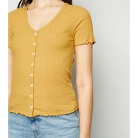 Mustard Ribbed Button Front T-Shirt New Look