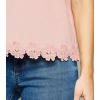 Pink Floral Crochet Hem T-Shirt New Look