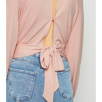 Pale Pink Ribbed Tie Back Top New Look