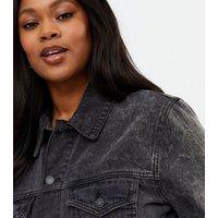 Curves Black Acid Wash Oversized Denim Jacket New Look
