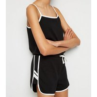 Girls Black Square Neck Jersey Playsuit New Look