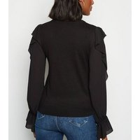Black Frill Sleeve Fine Knit Jumper New Look