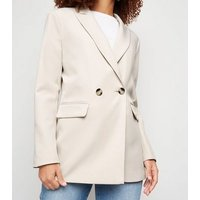 Stone Scuba Double Breasted Blazer New Look