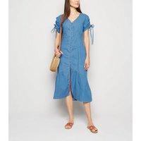 Blue Vanilla Blue Denim Button Front Midi Dress New Look