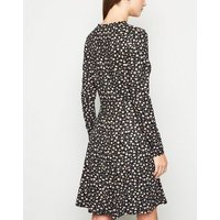 Tall Black Floral Soft Touch Skater Dress New Look