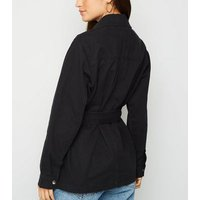 Tall Black Belted Lightweight Jacket New Look