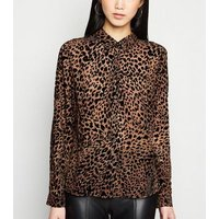 Brown Flocked Leopard Long Sleeve Shirt New Look