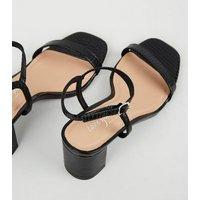 Black Faux Snake Mid Block Heel Sandals New Look Vegan