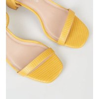 Mustard Faux Snake Mid Block Heel Sandals New Look