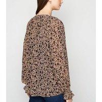 Maternity Brown Animal Print Long Sleeve Blouse New Look