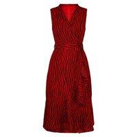Mela Red Zebra Print Wrap Midi Dress New Look