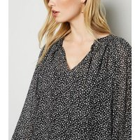 Black Ditsy Floral Tie Neck Blouse New Look