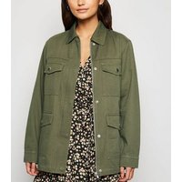 Petite Khaki Belted Lightweight Jacket New Look