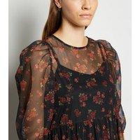 Black Floral Mesh Mini Smock Dress New Look
