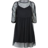 Black Mesh Puff Sleeve Mini Smock Dress New Look