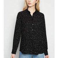 Black Spot Long Sleeve Chiffon Shirt New Look
