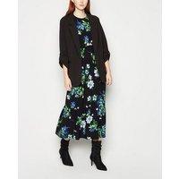 Black Floral Tiered Smock Midi Dress New Look