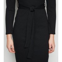 Black Ribbed Belted Midi Dress New Look