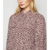 Pink Leopard Print Patch Pocket Shirt New Look