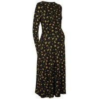 Maternity Black Floral Empire Waist Dress New Look